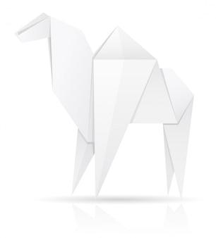 Ilustração em vetor camelo papel origami