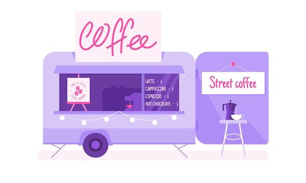 Ilustração em vetor caminhão café isolada no branco