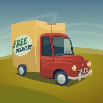 Ilustração em vetor caminhão entrega rápida.