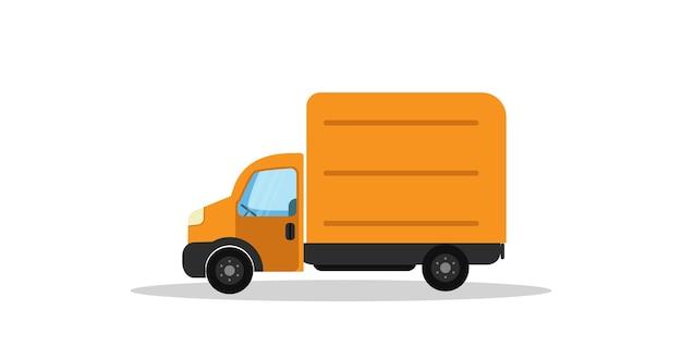 Ilustração em vetor caminhão laranja para serviço de entrega