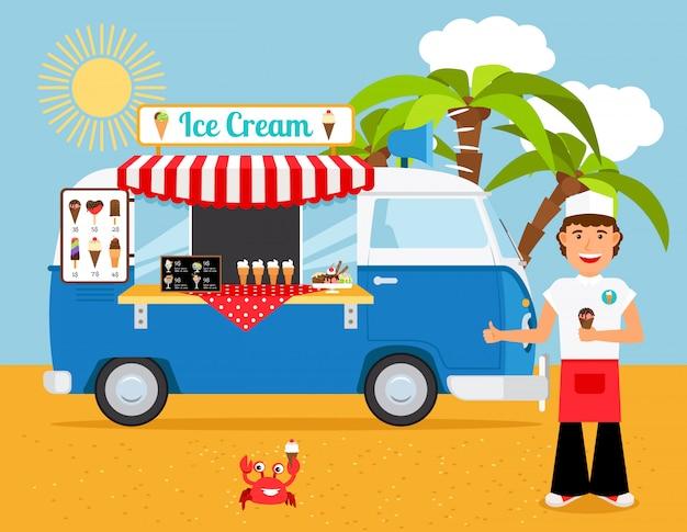 Ilustração em vetor caminhão sorvete