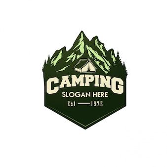 Ilustração em vetor camping logotipo modelo