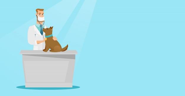 Ilustração em vetor cão veterinário examinando.