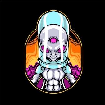 Ilustração em vetor capacete alienígena