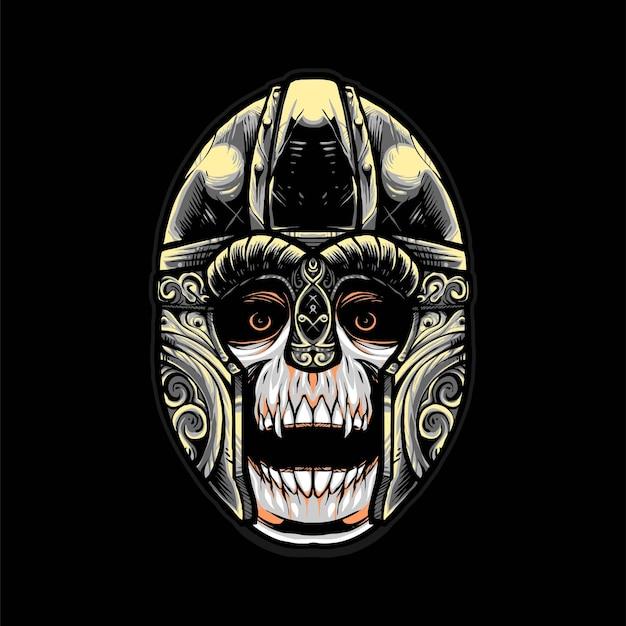 Ilustração em vetor capacete crânio viking, estilo cartoon moderno adequado para camisetas ou produtos impressos