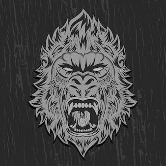 Ilustração em vetor cara de gorila forte
