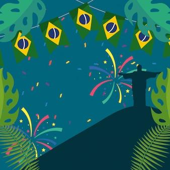 Ilustração em vetor carnaval celebração brasil