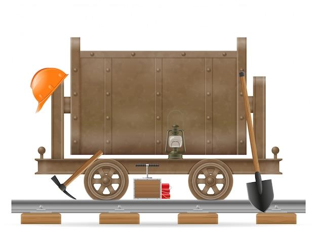 Ilustração em vetor carrinho carrinho mineração