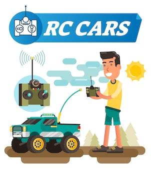 Ilustração em vetor carro brinquedo de controle remoto