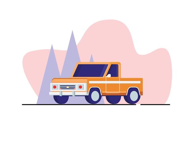 Ilustração em vetor carro vila em estilo simples