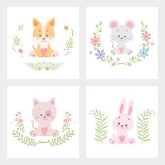 Ilustração em vetor cartão bonito animal flor isolada