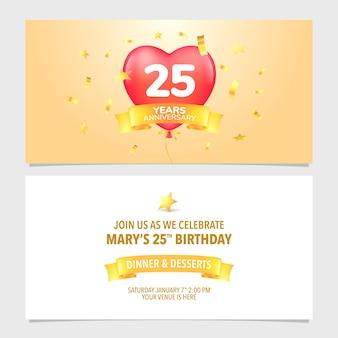 Ilustração em vetor cartão convite de aniversário de 25 anos