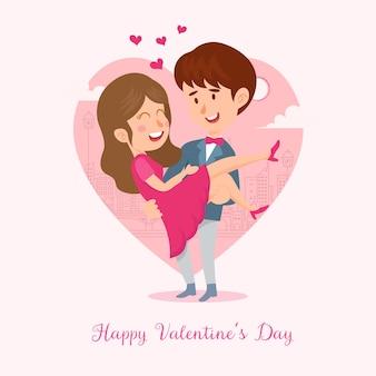 Ilustração em vetor cartão de dia dos namorados
