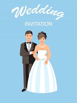 Ilustração em vetor cartão postal convite de casamento