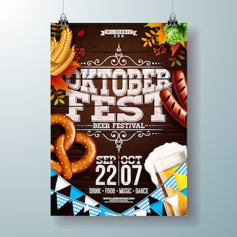 Ilustração em vetor cartaz festa oktoberfest