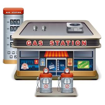 Ilustração em vetor cartoon posto de gasolina