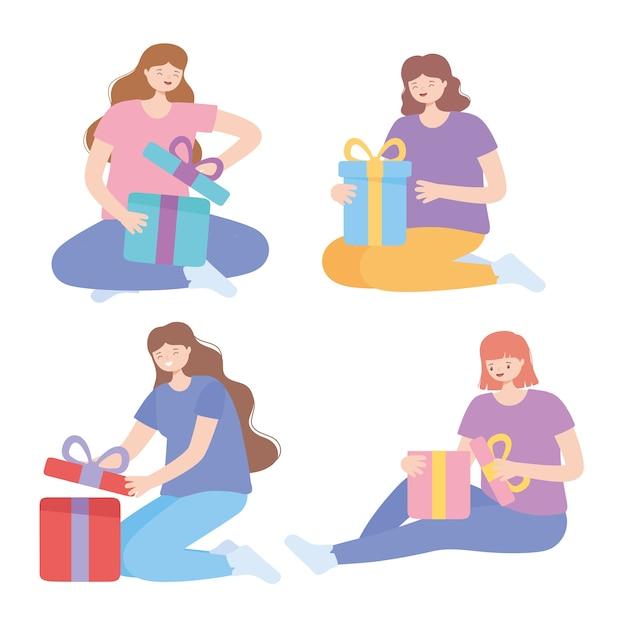Ilustração em vetor celebração feliz mulheres diferentes abrindo caixas de presente