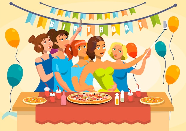 Ilustração em vetor celebração festa de aniversário