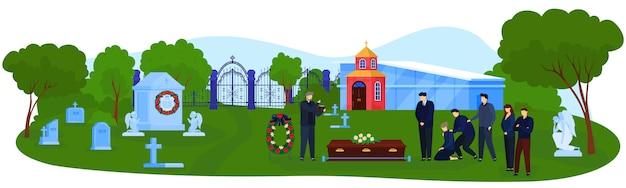 Ilustração em vetor cerimônia funeral cemitério.