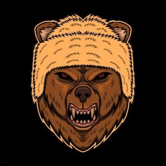 Ilustração em vetor chapéu cabeça urso bravo