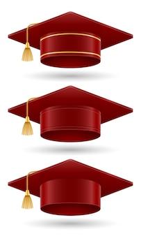 Ilustração em vetor chapéu de pós-graduação em faculdade e academia isolada no fundo branco