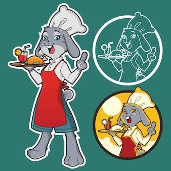 Ilustração em vetor chef coelho