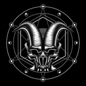 Ilustração em vetor chifre crânio diabo mal