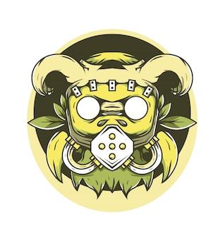 Ilustração em vetor chifre máscara invasor