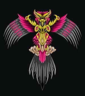 Ilustração em vetor ciberpunk do robô águia