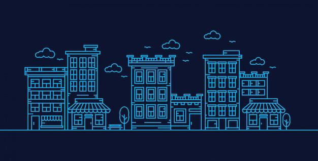 Ilustração em vetor cidade linha