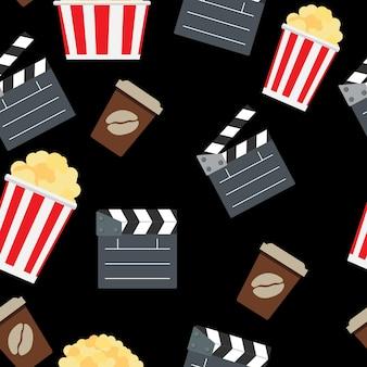 Ilustração em vetor cinema sem costura padrão de fundo. eps10