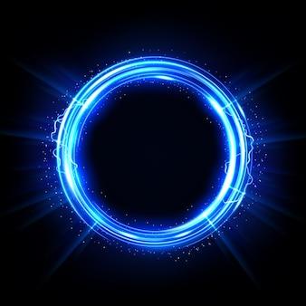 Ilustração em vetor círculo brilhante abstrato elegante anel de luz iluminada
