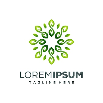 Ilustração em vetor círculo folha logotipo design