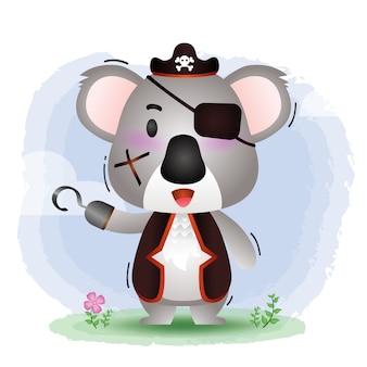 Ilustração em vetor coala de piratas fofos
