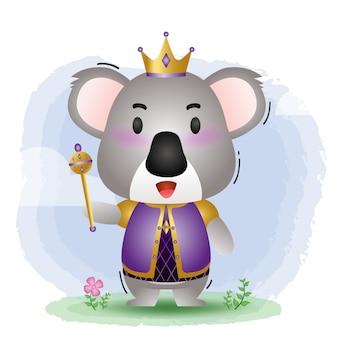 Ilustração em vetor coala rei fofo