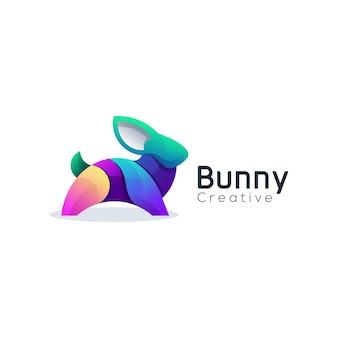 Ilustração em vetor coelho logo gradiente colorido
