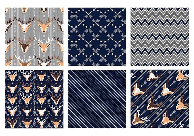 Ilustração em vetor coleção festiva de padrões sem emenda de natal
