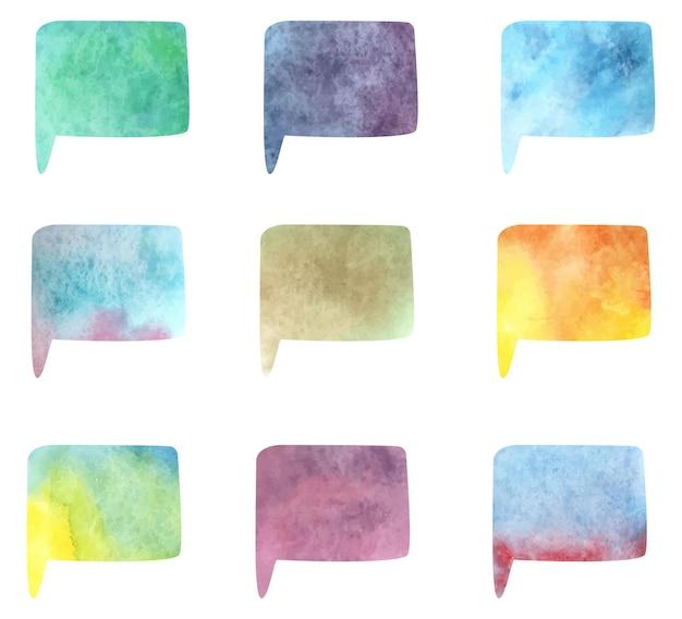 Ilustração em vetor coleção isolada da bolha do discurso. projeto moderno da aguarela. chat de modelo, mensagem. ideia criativa. conceito de comunicação.