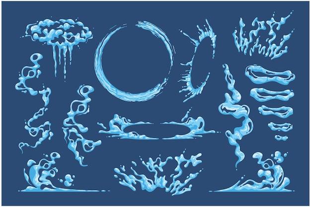 Ilustração em vetor coleção ondulação de água