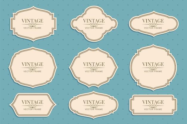 Ilustração em vetor coleção retro vintage frames