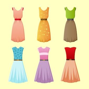 Ilustração em vetor coleção vestido feminino