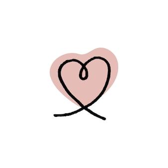 Ilustração em vetor colorida de contorno em forma de coração em bolha vermelha isolada no fundo branco