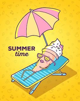 Ilustração em vetor colorida de sorvete de personagem com óculos deitado na espreguiçadeira e tomando banho de sol no fundo amarelo