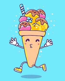 Ilustração em vetor colorida de sorvete de personagem com pernas e mãos sobre fundo azul