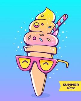 Ilustração em vetor colorida de sorvete gradiente de personagem com óculos no fundo brilhante