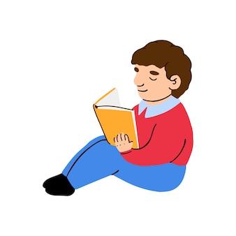 Ilustração em vetor colorida de um menino lendo um livro isolado no fundo branco
