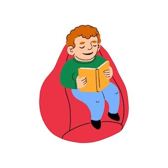 Ilustração em vetor colorida de um menino sentado em uma sacola lendo um livro
