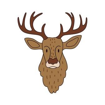 Ilustração em vetor colorida de uma cabeça de veado selvagem com um acidente vascular cerebral em um fundo branco