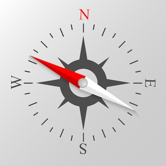 Ilustração em vetor colorido de exibição da bússola de navegação