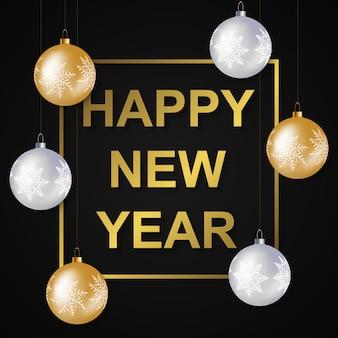 Ilustração em vetor colorido do modelo de cartão de ano novo com bolas de ouro e prata e cumprimentos de ano novo